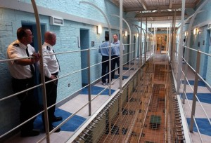 Prisoners and prison staff on a wing at Durham Prison